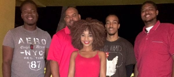 Photo by Director Opal Palmer Adisa of the cast of Smile Orange; L-R: Curtis Walters, Tony Emanuel, Sasha Green, Tyson Henderson, and Michael Wright.